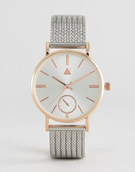 Asos Premium Clean Thick Mesh Strap Watch Silver And Rose Gold Multi
