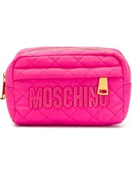 Moschino Quilted Makeup Bag Pink And Purple
