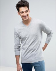 United Colors Of Benetton V Neck Jumper In 100 Cotton Grey M 501