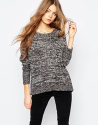 Brave Soul Round Neck Jumper With Zip Back Grey