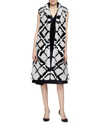 Derek Lam Abstract Print Long Mink Fur Vest Quartz Black Women's