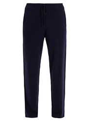 Allude Drawstring Waist Cashmere Track Pants Navy
