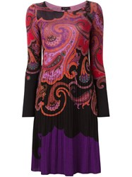 Etro Paisley Print Shift Dress Pink And Purple