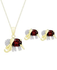 Victoria Townsend Rhodolite Garnet 3 1 3 Ct. T.W. And Diamond Accent Elephant Pendant Necklace And Stud Earrings Set In 18K Gold Plated Sterling Silver