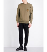 Palm Angels Leaf Cotton Jersey Sweatshirt Military Green Gold
