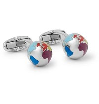 Paul Smith Globe Silver Tone And Enamel Cufflinks