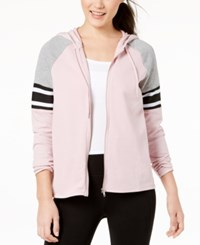 Material Girl Active Juniors' Colorblocked Zip Up Hoodie Created For Macy's Shimmer Pink