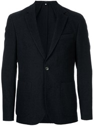 Hardy Amies Classic Blazer Cotton Virgin Wool Linen Flax Viscose Blue