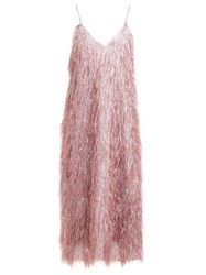Raey V Neck Tinsel Midi Slip Dress Pink