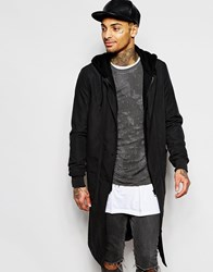 Asos Trench With Jersey Hood In Black Black