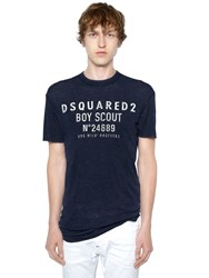 Dsquared Boy Scout Printed Wool Jersey T Shirt Blue