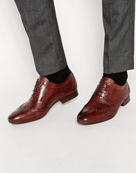 H By Hudson Francis Oxford Brogue Shoes Brown