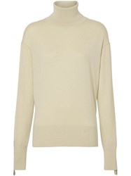 Burberry Logo Detail Merino Wool Silk Roll Neck Sweater Neutrals