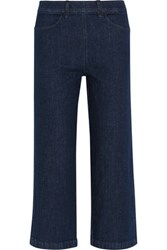 J.Crew Rayner Cropped High Rise Wide Leg Jeans Dark Denim