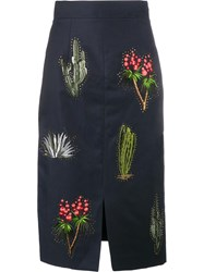 Stella Mccartney Cactus Embroidered Pencil Skirt Blue