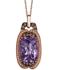 Le Vian Amethyst 5 3 4 Ct. T.W. White 1 8 Ct. T.W. And Chocolate 1 6 Ct. T.W. Diamond Pendant Necklace In 14K Rose Gold