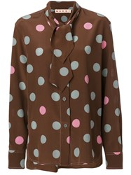 Marni Spotted Pussy Bow Blouse Women Silk 42 Brown