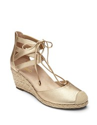 Vionic Cap Toe Leather Wedge Espadrilles Gold