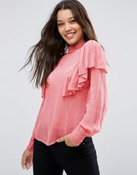 Asos Sheer Blouse With Ruffle And High Neck Detail Blush Pink