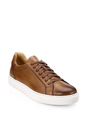 Saks Fifth Avenue Collection By Magnanni Burnished Leather Lace Up Sneaker Tabaco