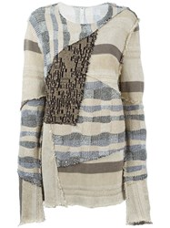 Damir Doma Patchwork Sweater Nude And Neutrals
