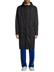 Msgm Hooded Long Coat Black White
