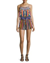 Camilla Printed And Embellished Romper Coverup Woven Wonderland