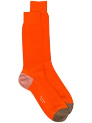 Paul Smith Mid Calf Socks Men Cotton Polyamide One Size Yellow Orange