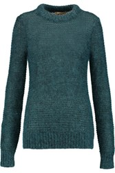 Michael Kors Collection Sequin Embellished Open Knit Sweater Petrol