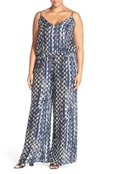 Plus Size Women's City Chic 'Barbed' Print V Neck Jumpsuit