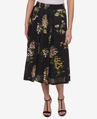 Tommy Hilfiger Cotton Floral Print Midi Skirt Only At Macy's Black