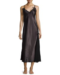 Oscar De La Renta Tying The Knot Satin Nightgown Black