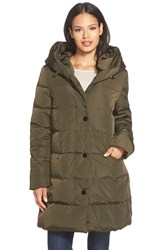 Petite Women's Gallery Pillow Hood Quilted Down And Feather Fill Stadium Coat Deep Olive