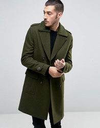 Asos Wool Mix Overcoat Wih Borg Collar Khaki Green
