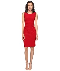 Norma Kamali Sleeveless Shirred Waist Dress Red Women's Dress