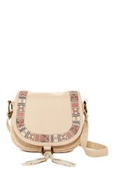 T Shirt And Jeans Mini Flap Crossbody Beige