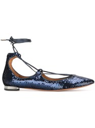 Aquazzura 'Christy' Sequin Ballerinas Blue