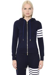 Thom Browne Intarsia Cotton Jersey Zip Up Sweatshirt