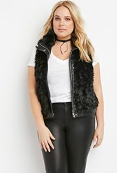 Forever 21 Plus Size Zipped Faux Fur Vest Black