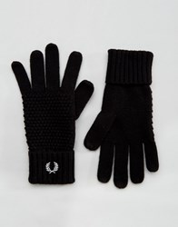 Fred Perry Pique Gloves In Lambswool Black