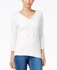 Thalia Sodi High Low Lace Up Sweater Only At Macy's Cloud