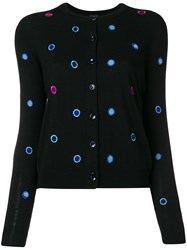 Paul Smith Ps By Polka Dot Embroidered Cardigan Black