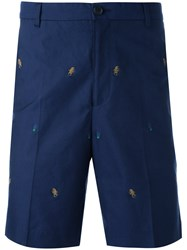 Kenzo Embroidered Bermuda Shorts Blue