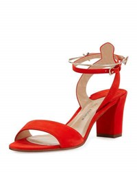 Paul Andrew Ecklund Suede Ankle Cuff Sandal Coral