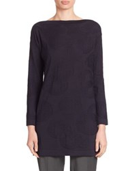 Piazza Sempione Silk And Wool Jacquard Circle Knit Tunic Navy