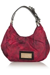 Valentino Rose Print Canvas Twill Patent Leather Shoulder Bag Red