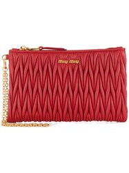 Miu Miu Matelasse Wristlet Clutch Leather Red