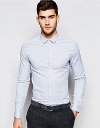 Asos Skinny Shirt In Blue Micro Stripe With Long Sleeves Blue