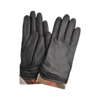 Burberry Solid Leather Housecheck Trim Jenny Touch Gloves