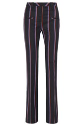 Altuzarra Serge Striped Wool And Cotton Blend Flared Pants Navy